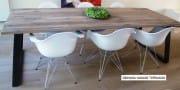 Industriele eettafel tafel oud eiken wagondelen schuine poten Memhis (2)
