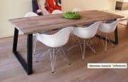 Industriele eettafel tafel oud eiken wagondelen schuine poten Memhis (6)
