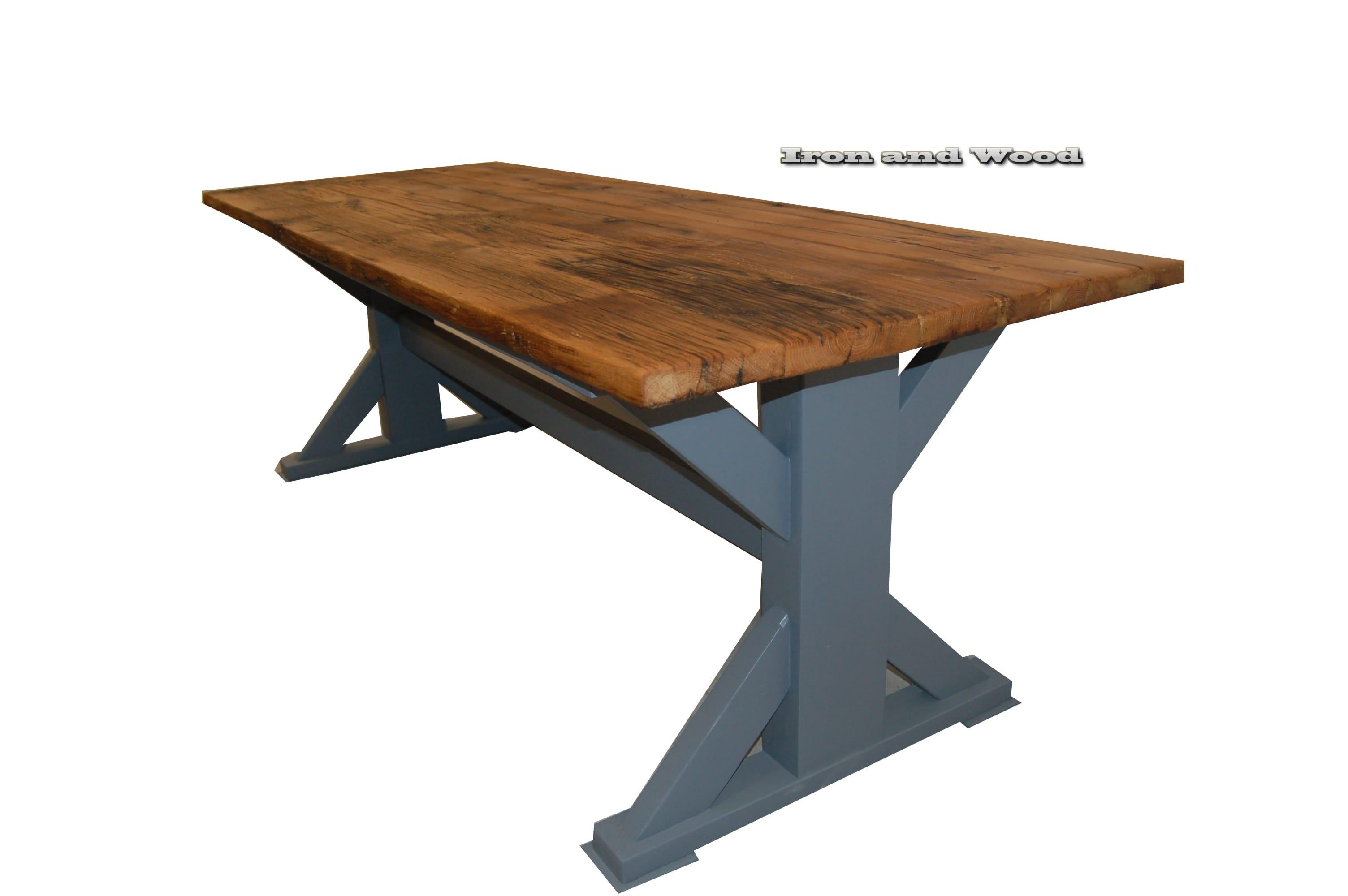 Landelijke kruispoot tafel kasteeltafel eiken wagondelen blad