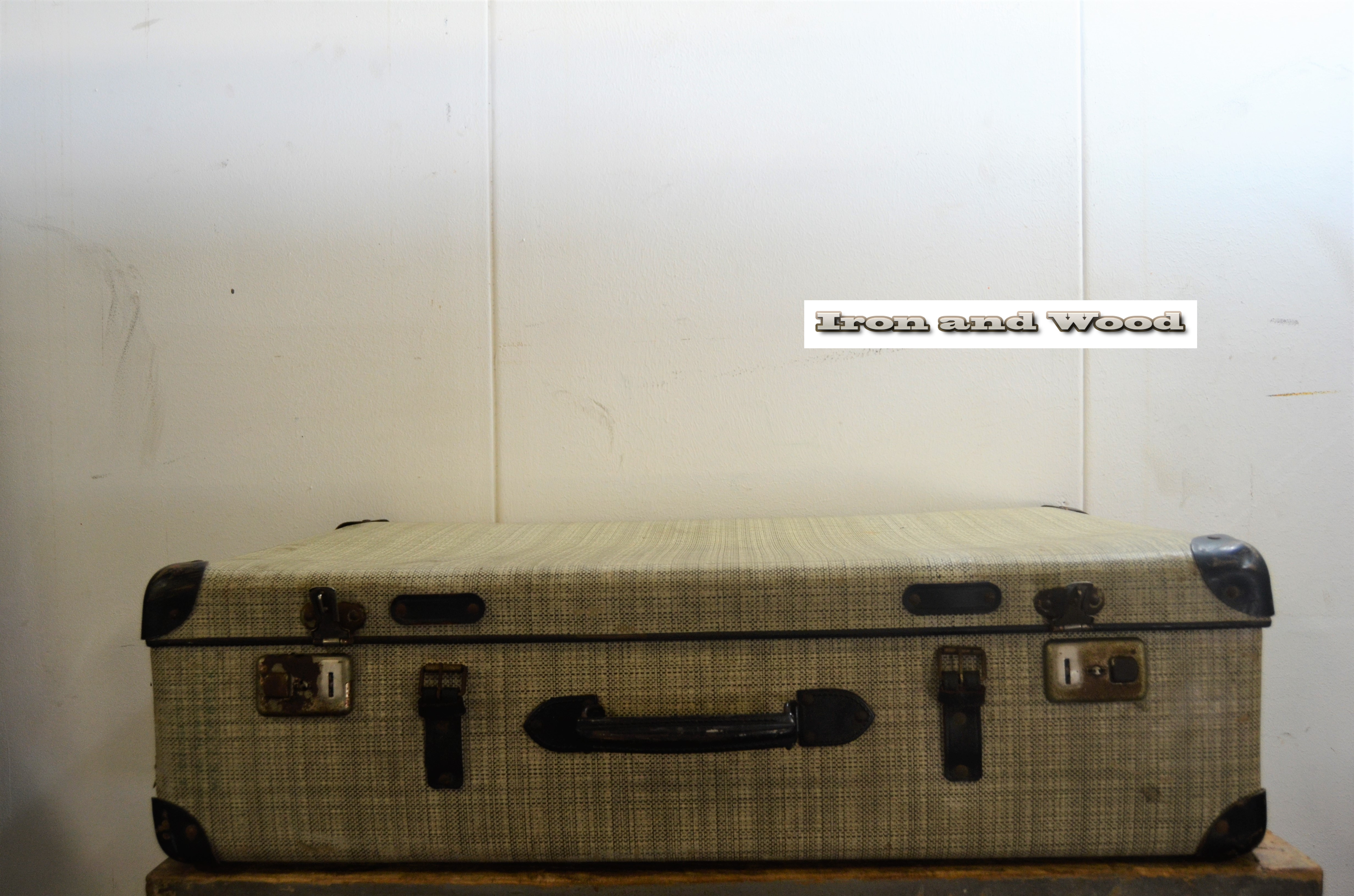 Groot grijs bruin gemeleerd vintage koffer, mooi in een vintage ...