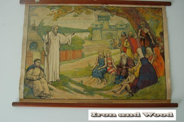 Schoolprent christelijke zendelingen bekeren de franken (4)