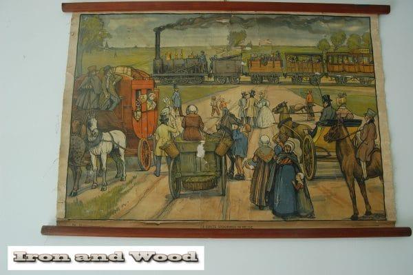 Schoolprent de eerste spoorweg in Belgie (4)
