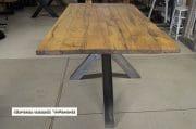Gepolijste spinnenpoot tafel 10 cm oud eiken wagondelen 1