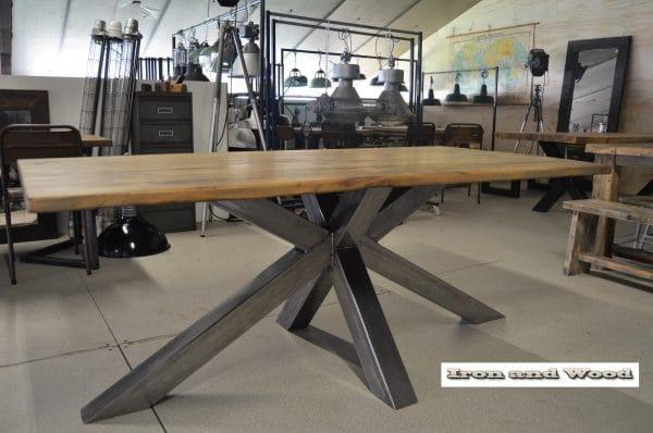 Industriele eettafel Toronto gepolijste spinnenpoot tafel 10 cm nieuw oud eiken wagondelen(25)