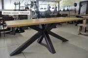 Zwarte spinnenpoot tafel 10 cm oud eiken wagondelen blad 5