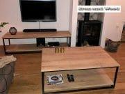 Industriele salontafel met onderblad en tv meubel 2
