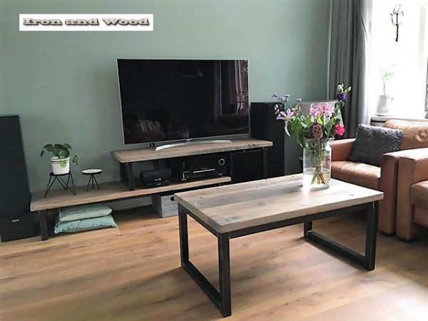 Salontafel en tv meubel met kokers van 4×4