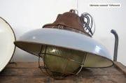 Donkergrijze grote emaille kooilampen roestige bovenkant D50 H43 11KG 9
