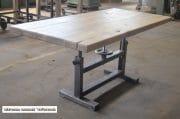 Industriele tafel oud gepolijst onderstel en eiken blad 180 x 85 x 79 13