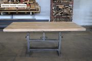 Industriele tafel oud gepolijst onderstel en eiken blad 180 x 85 x 79 4