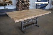 Industriele tafel oud gepolijst onderstel en eiken blad 180 x 85 x 79 6