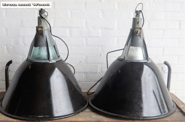 Industriele zwarte emaille lampen D57 H60 1
