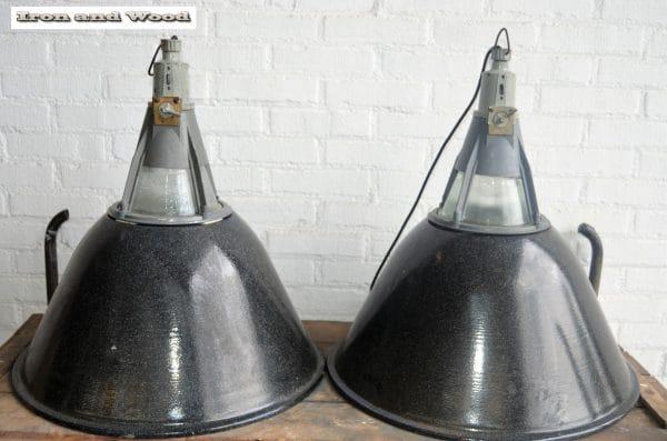 Zwart gespikkelde industriele emaille lampen D57 H60 1