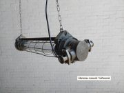 Donkergrijze industriele kleine TL lamp 90 cm 7