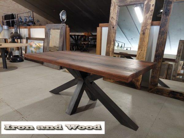 matrixpoot tafel hardhouten wagonplanken 180 x 90 4